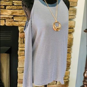 Loft blue and white striped top